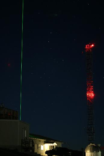 The Mauna Loa Observatory lidar probes the stratosphere on 5 December 2006. Photograph by Forrest M. Mims III.