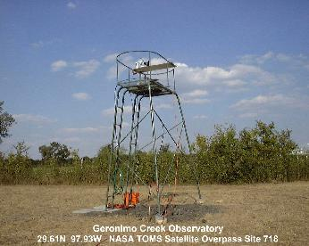 The shadowband radiometer was installed on this tower until it was moved to Texas Lutheran University in 2004.