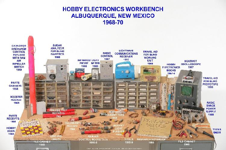 Closeup of my workbench (used from 1969 to 1976 in Albuquerque, New Mexico) showing projects and original tools from 1966 to 1970.