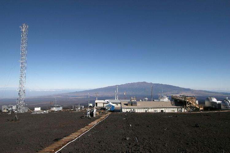 Mauna Loa Observatory with Mauna Kea in the background.