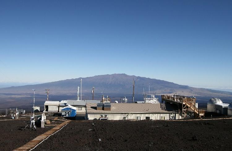 The Mauna Loa Observatory with Mauna Kea in the background. Copyright by Forrest M. Mims III.